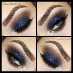 Sapphire blue sparkle eye look