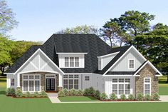 Split-Bedroom Craftsman Home Plan with Private Guest Suite - floor plan - Main Level Craftsman Style House Plans, Cottage House Plans, Country House Plans, Family Room Fireplace, Cozy Fireplace, Usa House, Island With Seating, Best House Plans, Guest Suite