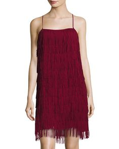 Fringe Sleeveless Party Dress, Burgundy
