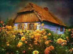 Little Blue Cottage in Poland - blue and orange, cottage, wildflowers, home, house Architecture Wallpaper, Art And Architecture, Beautiful World, Beautiful Places, Peaceful Places, Polish Folk Art, Fairytale Cottage, Old Houses, Home Art