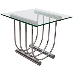 A Mid Century Unique Chrome and Glass Side or End Table | From a unique collection of antique and modern side tables at http://www.1stdibs.com/furniture/tables/side-tables/