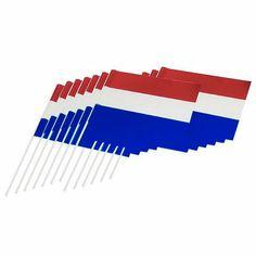 Vlaggetje met stok Holland rood wit blauw 12 st.