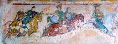 The famous Chinon mural in the Chapel of St. Radegond - some believe the crowned figure is Eleanor, others that it is Henry and his sons out on a hunt. I think they are clearly male.