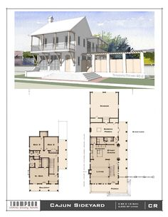 Traditional Neighborhood (TND) House designs in various styles. Coastal House Plans, Coastal Homes, Sims House Plans, House Floor Plans, Vintage Architecture, House Architecture, Two Bedroom House, Exterior Rendering, Pool Cabana