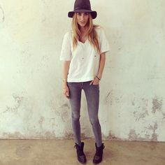 "@ANINE BING's photo: ""ANINE BING bohemian top, light grey skinny jeans and cowboy bootswww.aninebing.com #aninebing"""