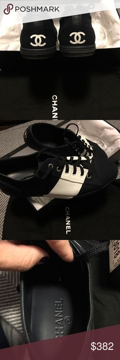 Chanel light weight canvas sneakers SZ9- New (worn with no show socks 1 time for a photo shoot) No scuff marks no dirt marks Women's size 9 Light weight With shoe bags In original box Purchased at Neiman Marcus; cruise collection CHANEL Shoes Sneakers