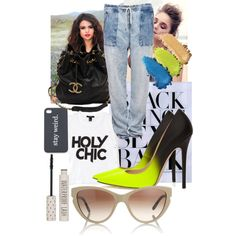 Neons and blacks! Shut Your Face, Holy Chic, Fashion Forward, Platform, My Style, Heels, Outfits, Image, Black