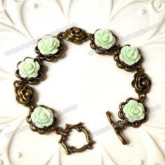 Wholesale Vintage Colored Carved Rose Embellished Alloy Bracelet For Women (COLOR ASSORTED), Bracelets - Rosewholesale.com
