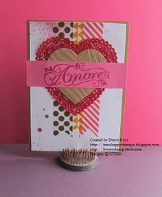"""CTMH Washi Tape Blog Hop 5"""" x 7"""" card:  Amore by Dawn Ross at http://iamahappystamper.blogspot.com"""