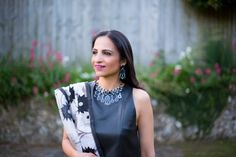 Fusion Sari Styling: 'Leather Look' Blouse With A Cotton Sari.