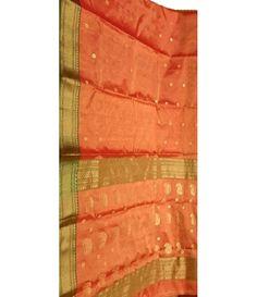 Orange Chanderi Handloom Silk Saree
