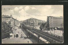 Alte Ansichtskarte: AK Berlin-Kreuzberg, Die Hochbahn in der Skalitzer Straße, Straßenleben, Pferdegespanne