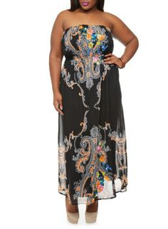 Plus Size Strapless Maxi Dress with Black Boho Print,BLACK