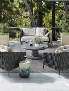 The easy, artistic design of our Mona Seating Collection brings a touch of modern style to your outdoor space. All-weather polyethylene rope is woven around the durable aluminum frame for a soft, unique look. Double-wrapped foam core cushions are upholstered in 100% solution dyed and woven fabric.