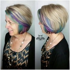 Jewel Toned Underlights ♧ Asymmetrical Inverted Bob Haircut I specialize in custom hair color and hair cutting services call to book your appointment Inverted Bob Haircuts, Layered Bob Hairstyles, Weave Hairstyles, Pretty Hairstyles, Casual Hairstyles, African Hairstyles, Curled Hairstyles, Undercolor Hair, White Hair