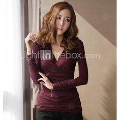 Women's V Neckline Sexy Pleated Bodycon Modal Long Sleeve T-shirt/Tops - USD $14.99