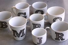 Monogram Mugs (if your friends don't drink coffee yet... they probably will :))