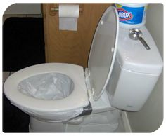 Converting a regular toilet to emergency toilet is easy, cheap and could bring some normality into any disaster situation. Converting a regular toilet to emergency toilet is easy, cheap and could bring some normality into any disaster situation. Emergency Food Storage, Emergency Preparedness Kit, Emergency Preparation, Emergency Supplies, Survival Prepping, Survival Skills, Homestead Survival, Emergency Planning, Doomsday Prepping