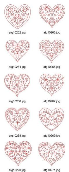 Valentine-Hearts-Redwork Embroidery Designs Artwork by DesignStitch Cross Stitch Embroidery, Embroidery Patterns, Hand Embroidery, Machine Embroidery, Red Work Embroidery, Embroidery Tattoo, Mosaic Patterns, Valentine Cookies, Be My Valentine