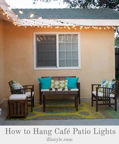 How to Hang Cafe Patio Lights for those fun summer night parties! Great ideas for a relaxing outdoor living space.