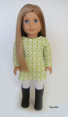 Lime Sweater Dress and White Tights American Girl by BuzzinBea, $20.00