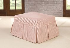 Sure Fit Slipcovers Ticking Stripe Ottoman Slipcovers - Ottoman
