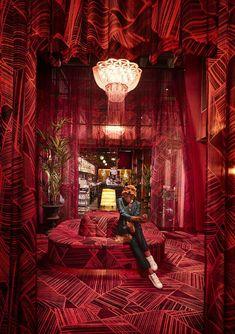 The deliciously massive pink marshmallow sofa in Gothenburg's newest bar&nightclub, Bon Bon Bar caug Red Interior Design, Bar Interior, Whisky Bar, Gothenburg Sweden, Bar Design Awards, Hotels, Swedish House, Studios, Cool Bars