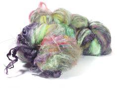 3.8 oz 107 grams luxury art batt for the art yarn spinner full of baby suri alpaca locks and sparkles
