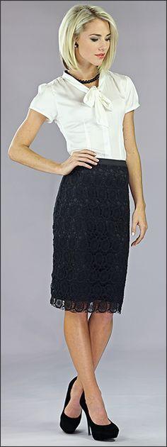 MIKAROSE modest lace pencil skirt