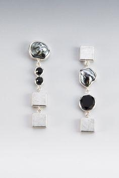 Hand Made Earrings - Sterling Silver, Faceted Onyx, Tahitian Keshi Pearl by Janis Kerman Design | CustomMade.com