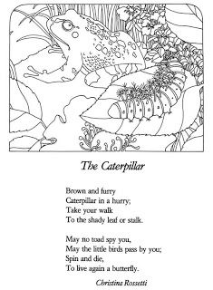 The Caterpillar by Christina Rosetti-nice coloring page with poem