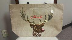Reindeer Christmas Tote Mudpie Christmas, Reindeer Christmas, Mud Pie, Burlap, Reusable Tote Bags, Hessian Fabric, Jute