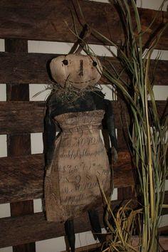 Primitive Fall Crafts, Primitive Autumn, Primitive Pumpkin, Primitive Christmas, Halloween Doll, Vintage Halloween, Fall Halloween, Halloween Crafts, Halloween Decorations