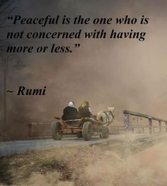 Peaceful is the one who is not concerned with having more or less ☼ Rumi