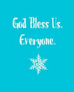 Vintage 1970/'s A Christmas Carol Tiny Tim God Bless Us Every One Print