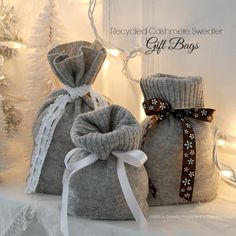 recycled cashmere sweater gift bags wm sweaters upcycling ideas Before Throwing Away That Old Sweater See 25 Ways You Can Reuse It Sweater Christmas Stockings, Christmas Sweaters, Old Sweater Crafts, Alter Pullover, Recycled Sweaters, Recycled Clothing, Recycled Fashion, Ideias Diy, Recycled Crafts