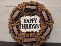 Happy Holiday Wreath. . . #goldenforrest #goldenforrestcreations #happyholidays #burlapwreath #burlap #wreath #doordecor #christmasdecor #ribbon #sign #seasonaldecor #holiday Holiday Wreaths, Christmas Decorations, Happy Holidays, Christmas Holidays, Seasonal Decor, Burlap Wreath, Ribbon, Sign, Christmas Vacation
