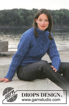 Free knitting patterns and crochet patterns by DROPS Design Cable Knitting Patterns, Knit Patterns, Free Knitting, Quilting Patterns, Quilting Designs, Aran Sweaters, Cable Sweater, Drops Design, Garnstudio Drops