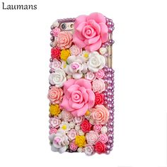 3716b07f790 Laumans For iphone 4S 5S 5C SE 6 6s PLUS 7 8 PLUS Luxury DIY Colorful Bling  Diamond Rhinestone rose flower case for iphone X-in Fitted Cases from  Cellphones ...
