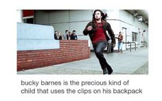 It's funny until you realize why. In that backpack is notebooks with everything he can remember inside them, so it's absolutely imperative that he NEVER loses that backpack. So heck yeah he's gonna use those clips, unless he wants to lose every memory he's regained since Winter Soldier