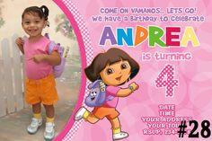 Dora the Explorer Birthday Invitation  - Digital File - You Print  Princess invite with Photo