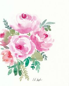 Pink watercolor roses painting by elise engh: grow creative Watercolor Art Paintings, Watercolor Projects, Watercolor Rose, Watercolor Cards, Flower Paintings, Floral Artwork, Floral Wall Art, Illustrations, Flower Art
