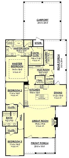 Traditional Plan: 2,155 Square Feet, 3 Bedrooms, 2.5 Bathrooms - 041-00149 House Plans One Story, Cottage House Plans, Best House Plans, Small House Plans, House Floor Plans, Cottage Homes, Home Design Plans, Plan Design, 2200 Sq Ft House Plans
