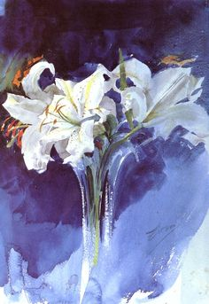 "Anders Zorn (1860-1920) Vita Liljor Watercolor on paper 63.754 x 89.662 cm (25.1"" x 35.3"")"