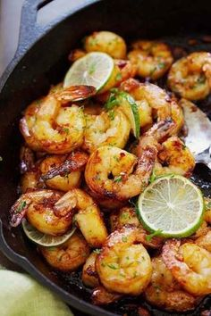 Garlic Honey Lime Shrimp – garlicky, sweet, sticky skillet shrimp with fresh lime. This recipe is so good and easy, takes only 15 mins to ma. Lime Shrimp Recipes, Fish Recipes, Seafood Recipes, Chicken Recipes, Dinner Recipes, Cooking Recipes, Healthy Recipes, Delicious Recipes, Honey Recipes