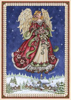Angel in Blue Sky (16 cards / 16 envelopes) - Boxed Christmas CardsINSIDE:May Heaven watch over you and bring you peace now and in the coming year.
