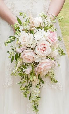 Gorgeous pink bridal wedding bouquet idea for the modern bride. Full blown roses and Lily of the Valley Cascading Wedding Bouquets, Rose Bridal Bouquet, Summer Wedding Bouquets, Cascade Bouquet, Bride Bouquets, Bridal Flowers, Bridesmaid Bouquet, Floral Wedding, Spring Bouquet