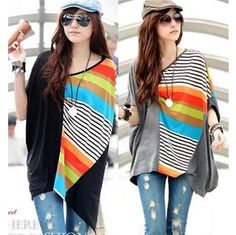 ba15010d167 2013 New korean fashion striped colorful batwing sleeve irregular blouses plus  size tops t shirt women