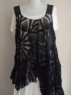 maternıty tunica crochet doily blouse  bohemian black by nilsmake, $73.00
