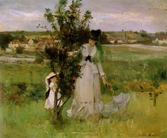 """ART & ARTISTS: Berthe Morisot - part 1 -  Berthe Morisot (1841 – 1895) was a painter described by Gustave Geffroy in 1894 as one of """"les trois grandes dames"""" of Impressionism alongside Marie Bracquemond and Mary Cassatt. Morisot was born in Bourges, France in 1841 into a family of wealth and culture. Her father was a high ranking civil servant. She was Fragonard's great-grand daughter."""